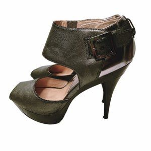 Michael Kors ankle strap peep toe platform heels